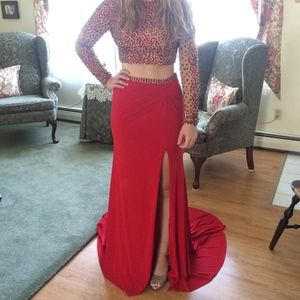 Sherri Hill Red Two Piece Long Sleeve Prom Dress